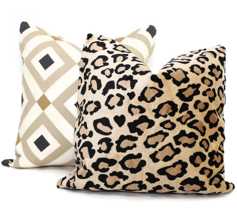 Jonathan Adler Vionnet Tan Decorative Pillow Cover by PopOColor