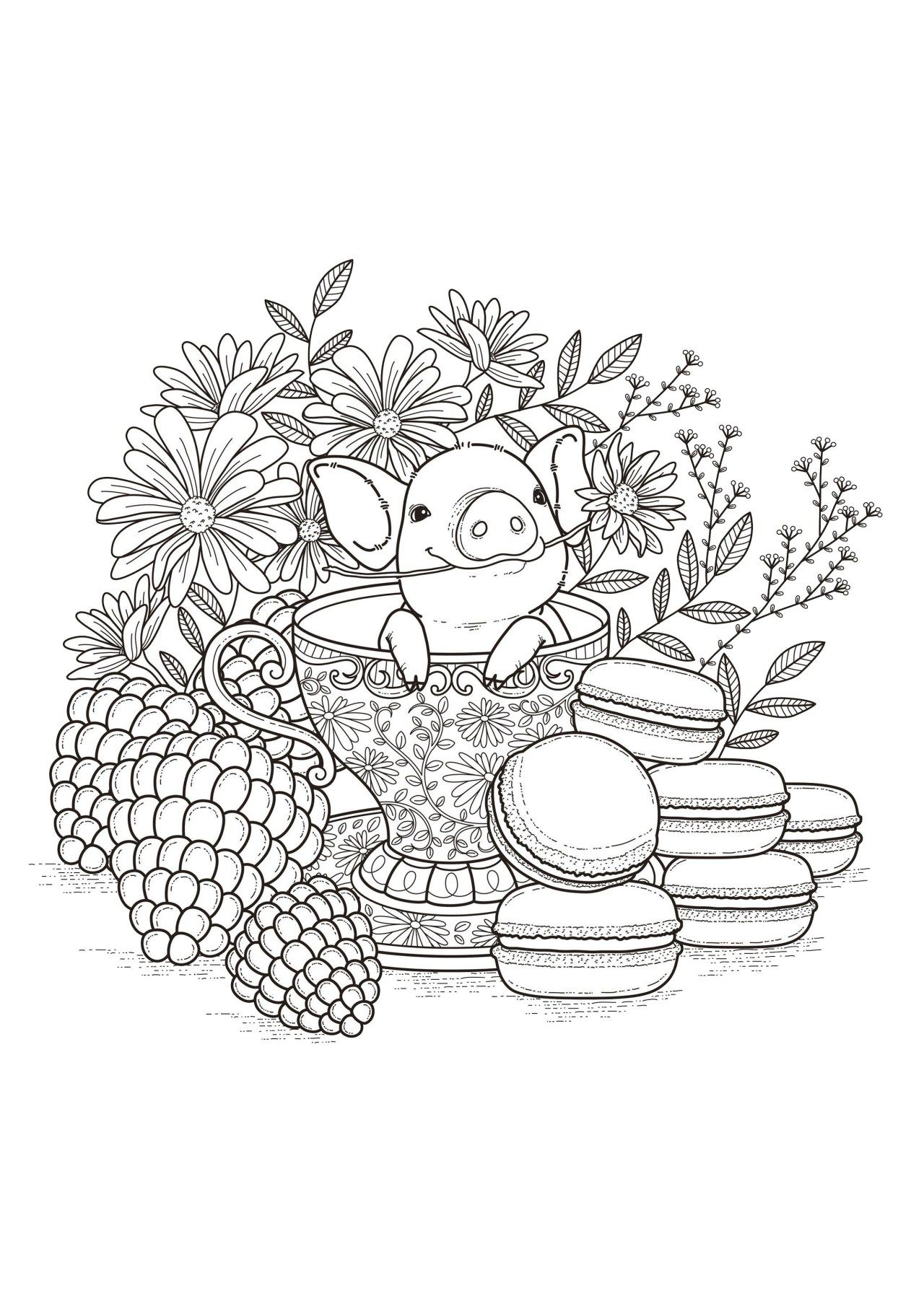 Pig Coloring Pages Pigs Coloring Pages For Adults Coloring Pages Nature Detailed Coloring Pages Witch Coloring Pages