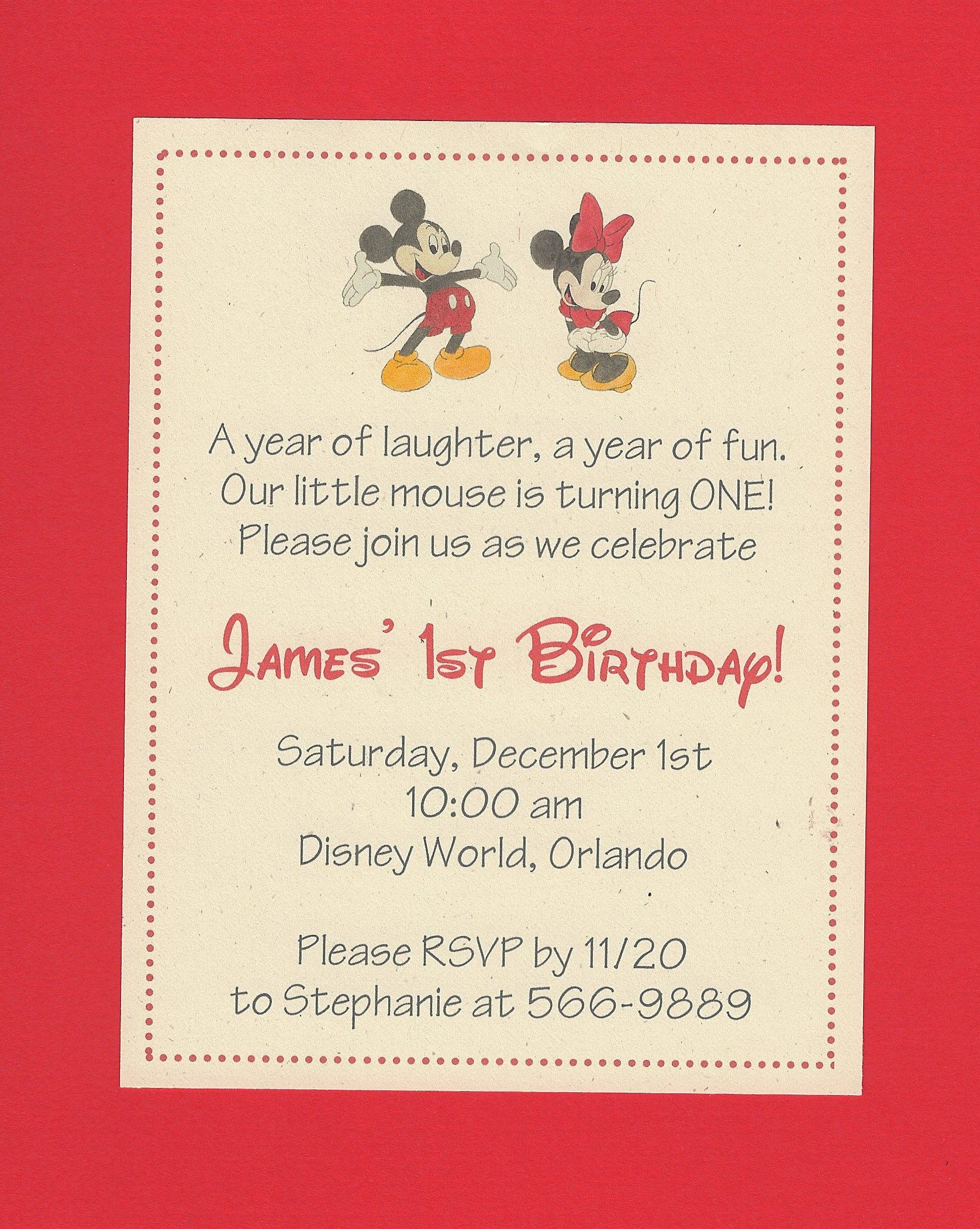 180012 Invitations Mickey Mini Mouse Invitation printed on