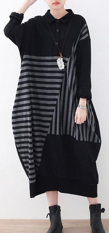 e632e8f173d 2017 black linen maxi dress plussize patchwork long cotton dresses top  quality striped dress in 2019
