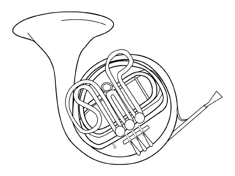 french horn coloring pages - photo#18
