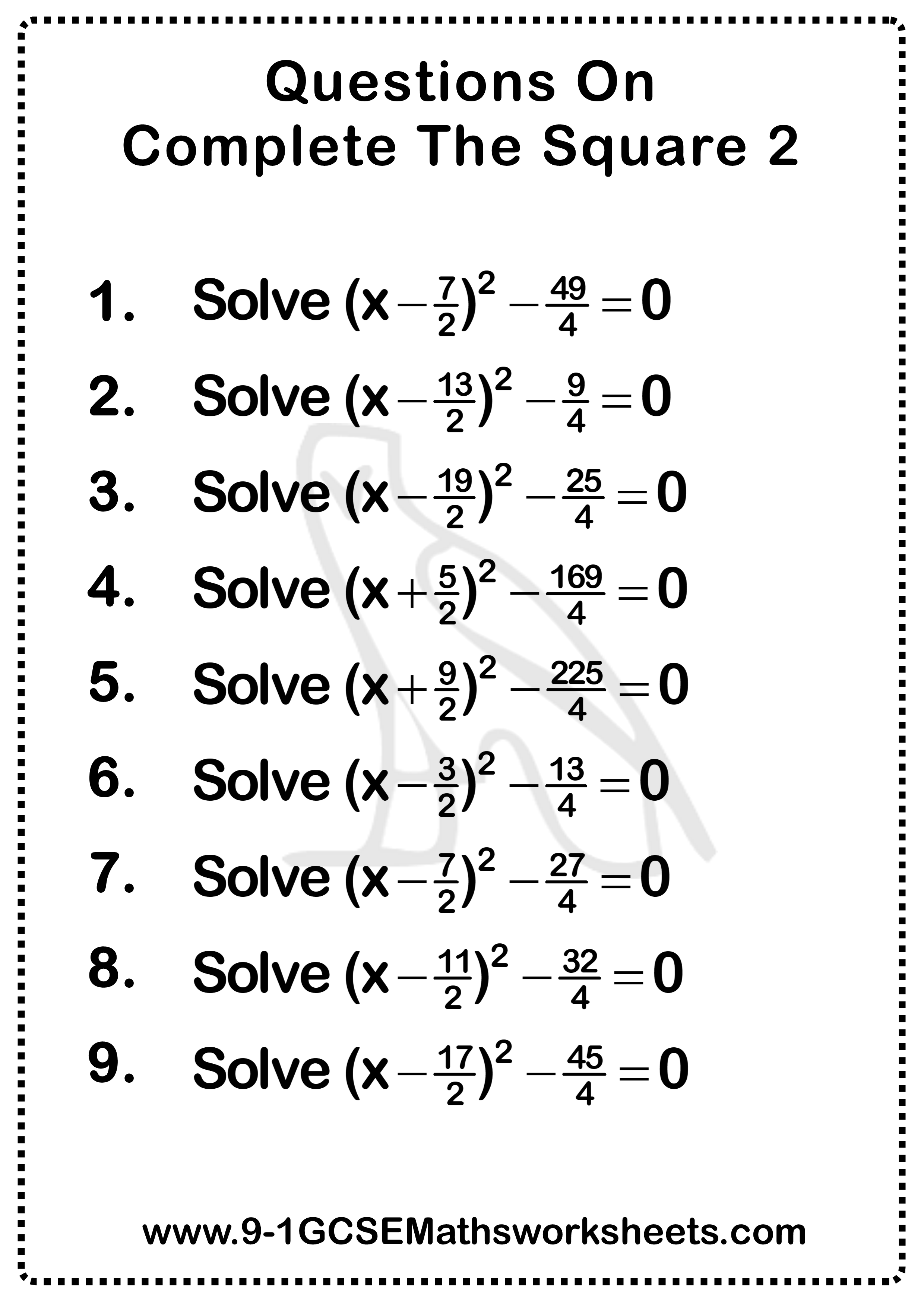 Completing The Square Questions 2 In