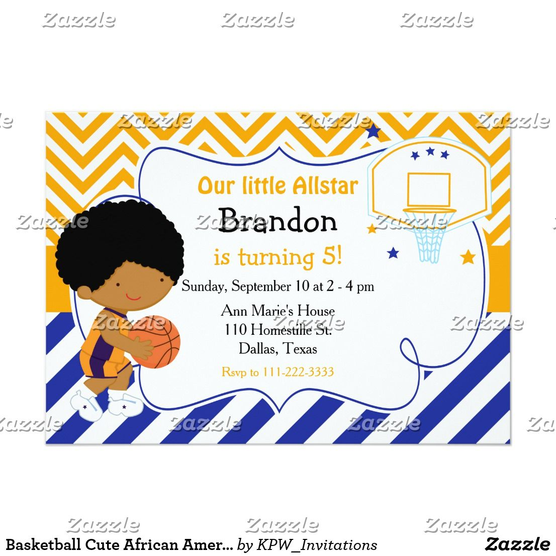 Basketball Cute African American Birthday Party Invitation | { Happy ...