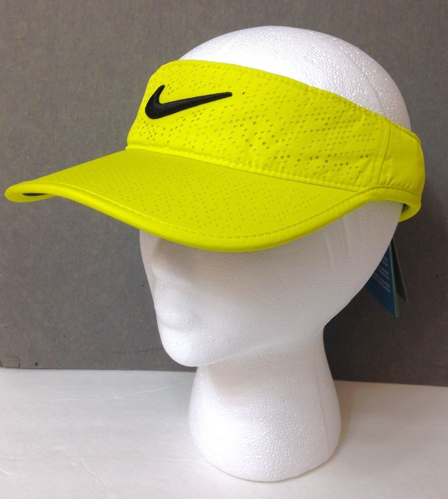 4c6a16a57d011 Womens (Or Men) NIKE VISOR Ladies Dry Fit Golf Sun Hat NEON YELLOW Black  Swoosh  Nike  Visor  Golf