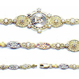 oro para quincenera cadena | Pulsera para XV en 3 Oros - KBB590