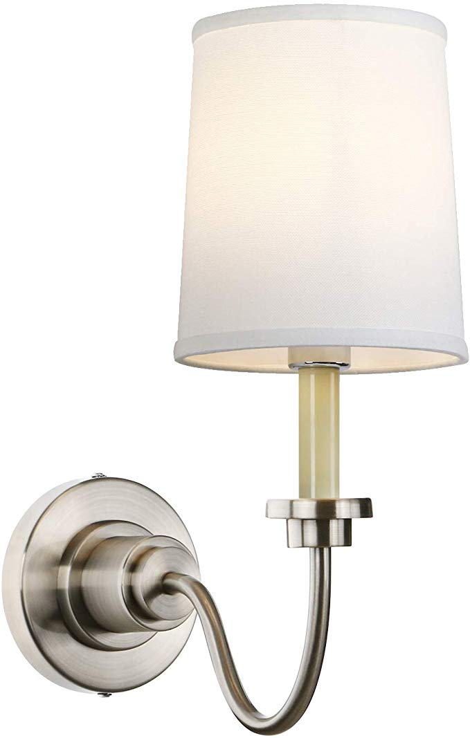 Pathson Wall Sconce With White Fabric Shade Vintage Bedside Wall