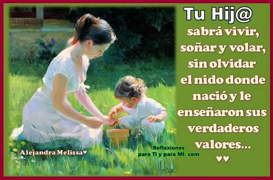Reflexiones para TI y para MÍ: * Tu Hijo sabrá vivir, soñar y volar...