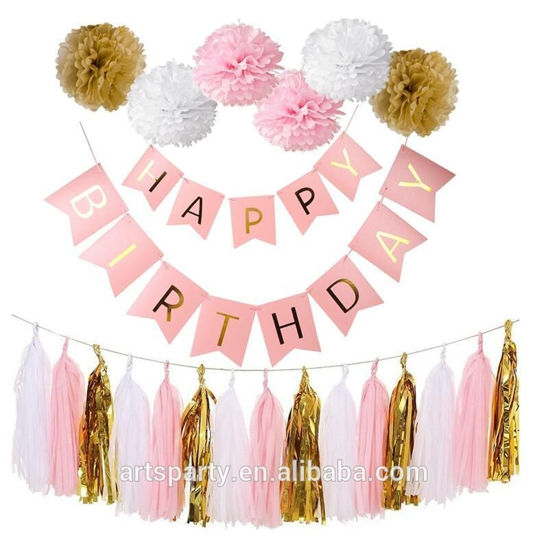 Happy Birthday Banner Rose Gold For Party Decorations