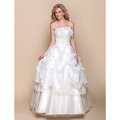 A-line Wedding Dress - Ivory Floor-length Strapless Organza – USD $ 49.99