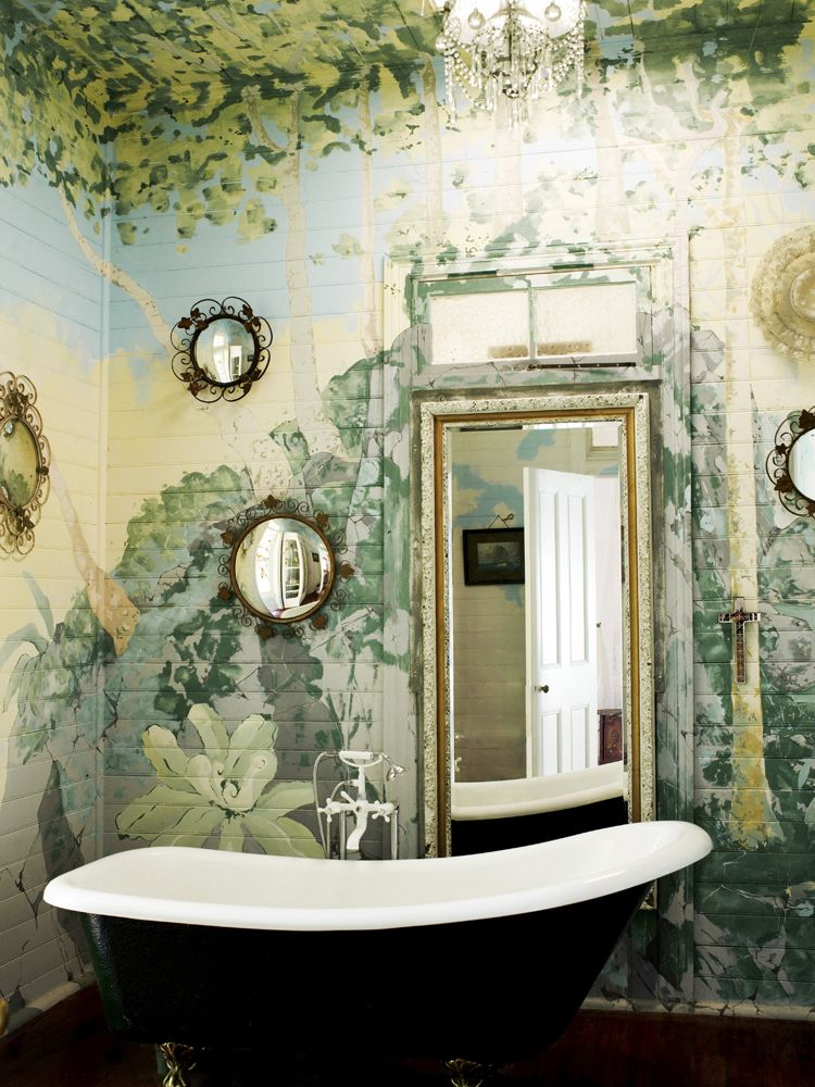 Painted forest mural on a bathroom wall - Claw foot soaking tub ...