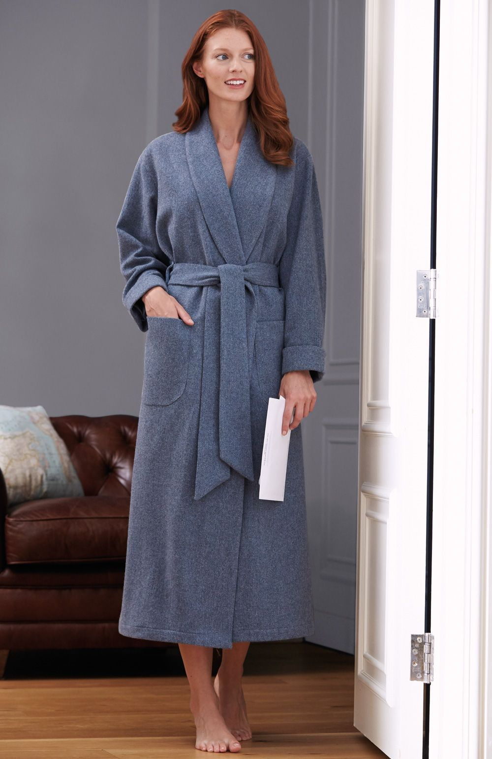 Luxury Ladies Wool Silk-Lined Robe. This beautiful lambswool dressing gown  with full silk lining will keep you warm in true style. 0572e3f83