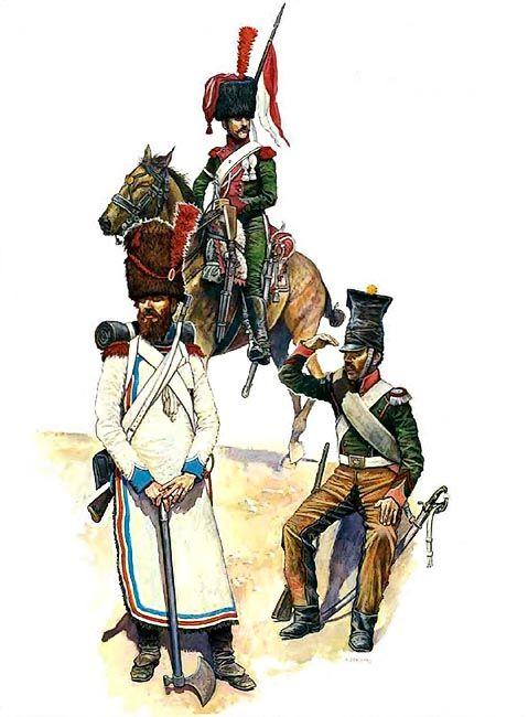 """Grand Duchy of Berg: • Trooper, Elite Company, 1st Regiment Chevau-Léger Lanciers, 1812 • Pioneer, 2nd Infantry Regiment, 1812 • Corporal, 1st Chevau-Légers Regiment, Spain"", Richard Scollins"