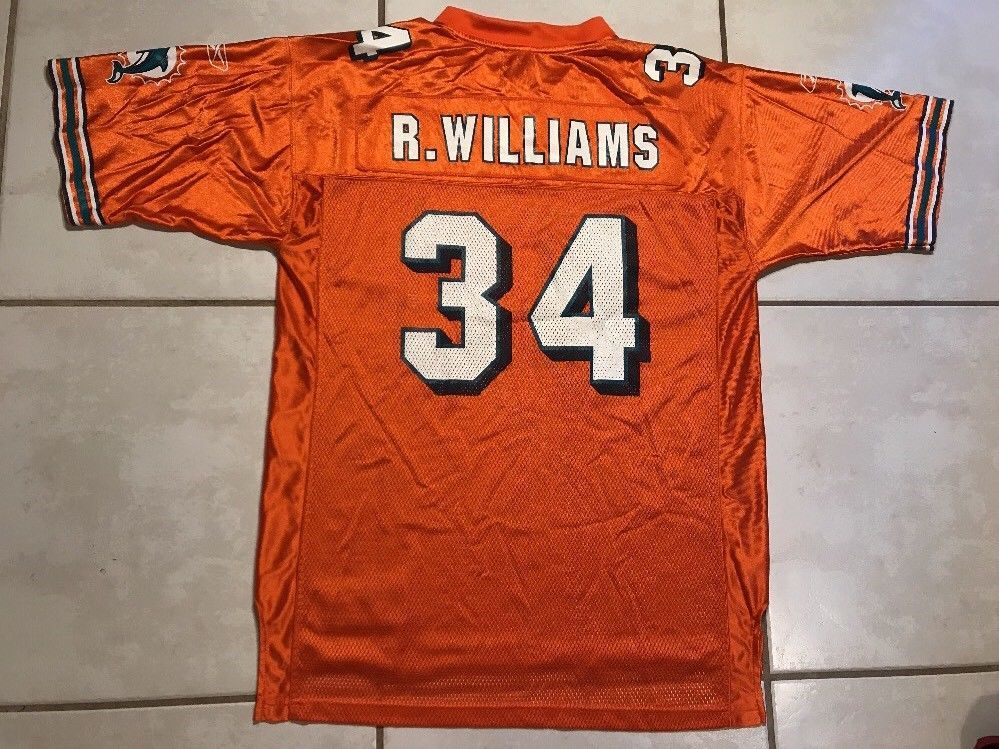 324dedcd Vintage REEBOK Miami Dolphins NFL Ricky Williams ORANGE Jersey Men's ...