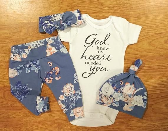 Photo of God knew my heart needed you, floral print, baby girl, rainbow Baby, Going Home Outfit, boy, girl, shower gift, pants, hat, topknot headband