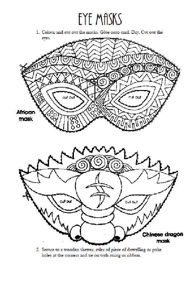 Students will colour, cut and create their own eye masks