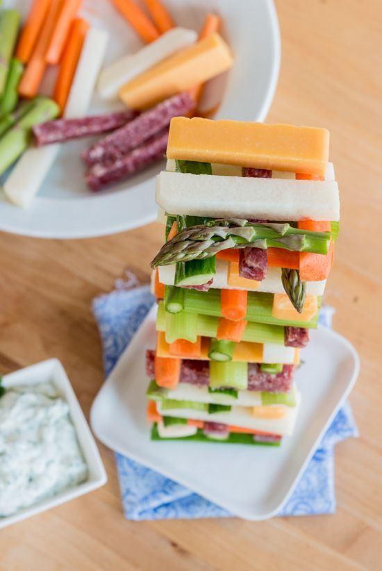 Jenga Veggie Tower With Creamy Cilantro Dip Recipe Food