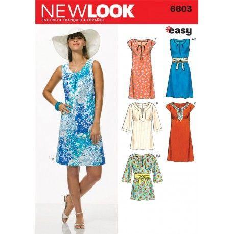 b30d4691 Snitmønster til kjole og tunika snitmønster NEW LOOK easy, simplicity