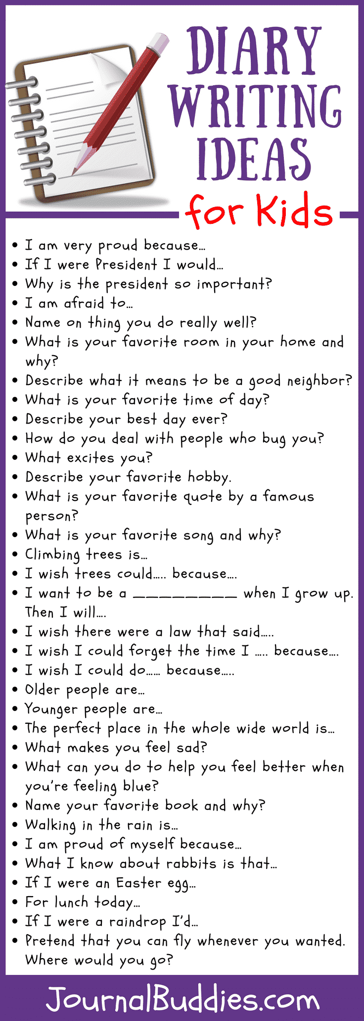 Diary Writing Ideas for Kids  Writing prompts for kids, Fun