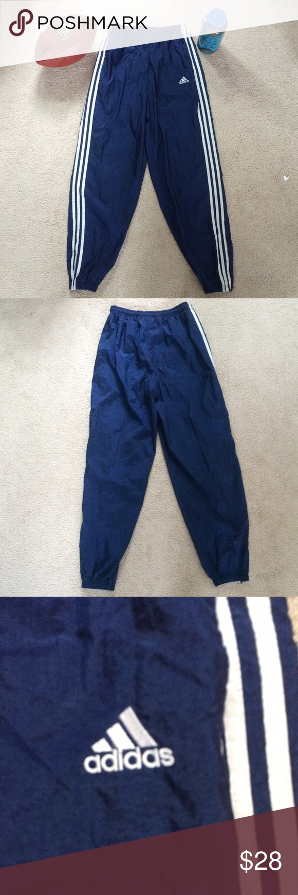 Adidas 3-Stripe Workout Pant Stay stylish while at the gym. These navy workout pants with 3 white stripes down the side have a modern jogger cut with zip ankles. The inseam measures 34 inches. adidas Pants Sweatpants & Joggers