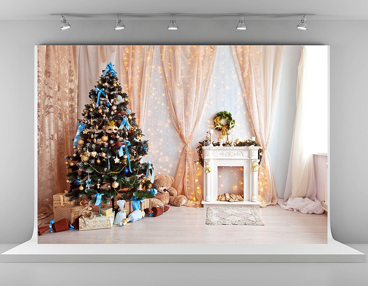 New Christmas Backdrop 7x5ft Christmas Party Decoration Banner Photo Booth Backdrops Sofa and Christmas Decoration Photography Background