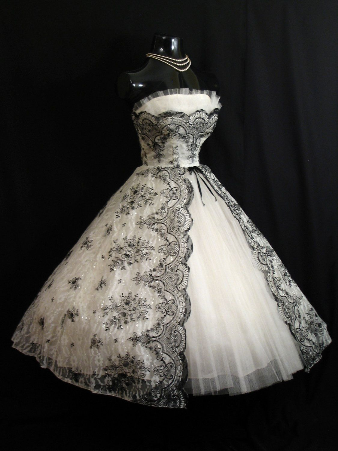 bf4f66f6ff7 Vintage 1950 s 50s Bombshell STRAPLESS Black White Metallic Floral Flocked  Tulle Party Prom Wedding DRESS.  599.99
