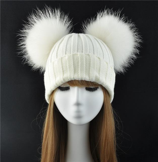 Winter Real Fur Ball Beanie Hat for Women Ladies Fluffy Double Natural  Raccoon Fur Pom Pom Skullies Beanie Hat With 2 Fur Pompom   HatsForWomenBeanie 53f8e928a70