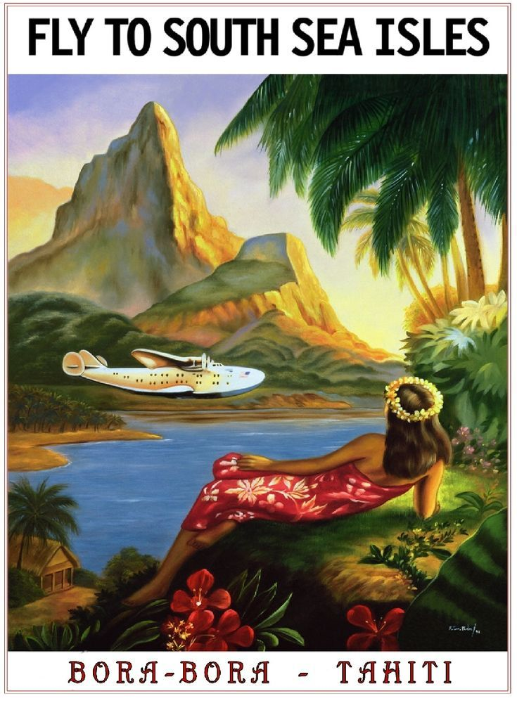 South Seas Islands Bora Bora Tahiti Vintage Travel Advertisement Poster In Posters Ebay Affiche De Voyage Vintage Art Hawaïen Affiche De Voyage