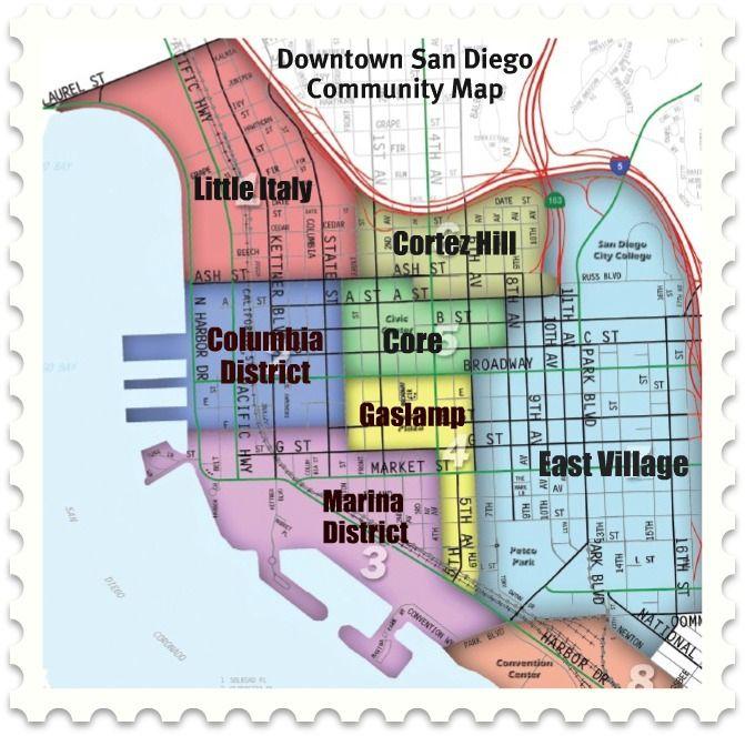 Downtown San Diego Map Map of Downtown San Diego Communities   Downtown san diego, San