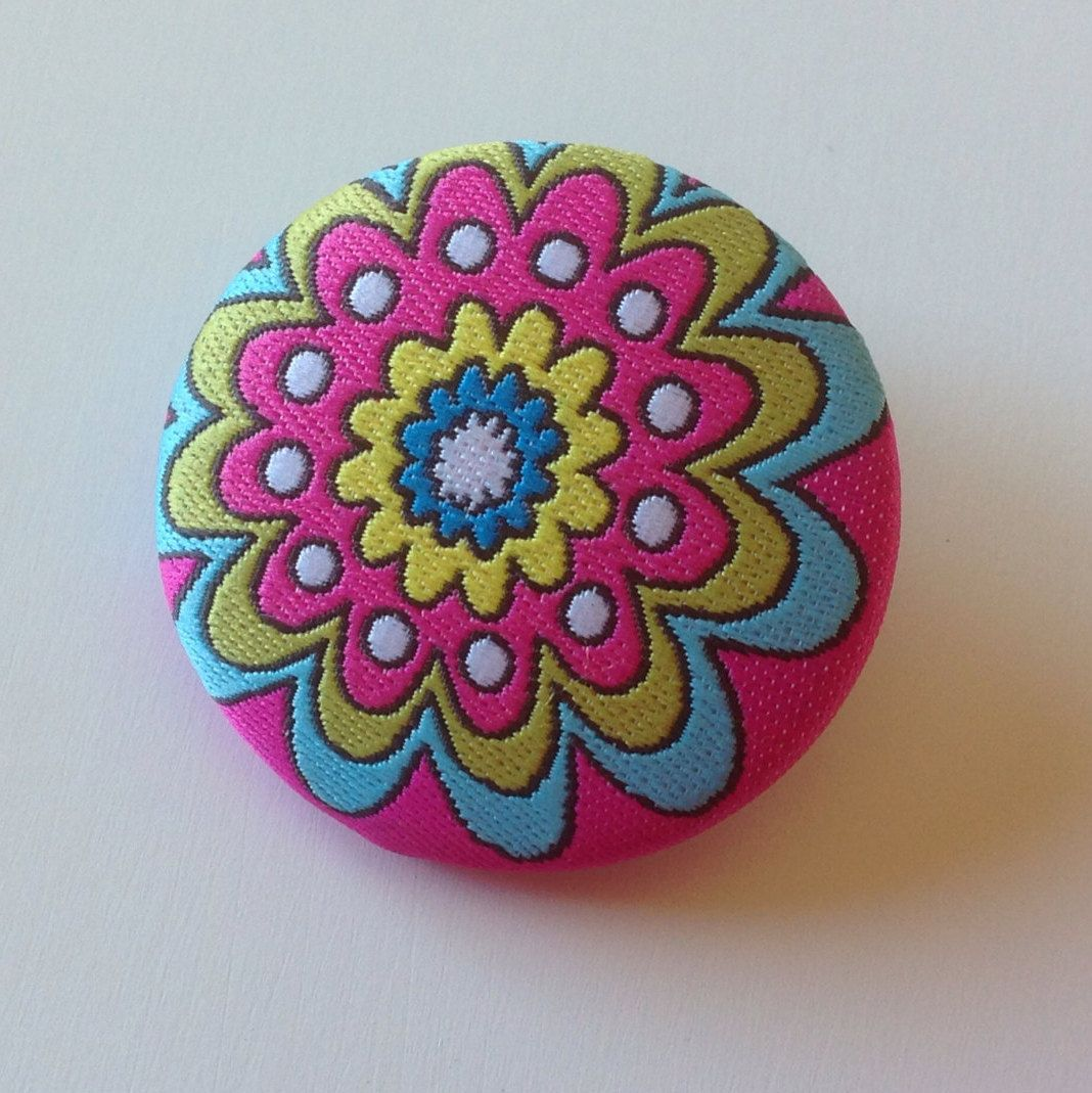 Fabric Flower Button Teal Celery Green Hot Pink White Yellow Turquoise CrazyVintageBoutique Fabric Flower Shank Button Cottage Chic by CrazyVintageBoutique on Etsy