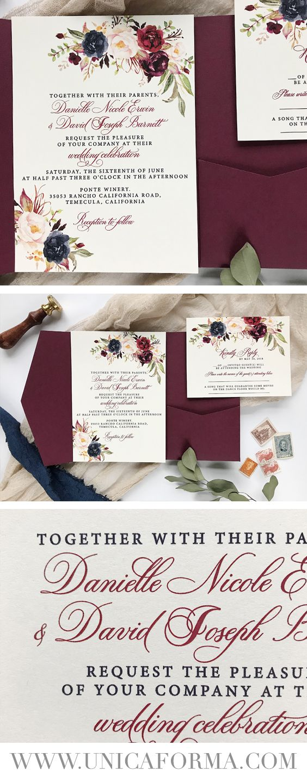 ivory and burgundy wedding invitations, Burgundy floral invitations ...