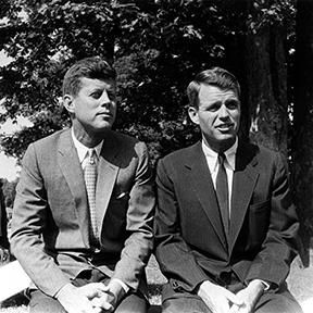 1957. Accession Number: PX65-105:266. Senator John F. Kennedy and Robert F. Kennedy, Hickory Hill, Virginia. Credit Line: Photograph by Douglas Jones, LOOK Magazine. John F. Kennedy Presidential Library and Museum, Boston