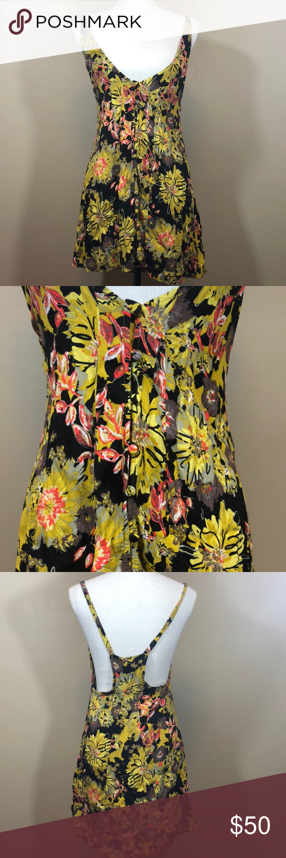 Free People 4 Floral Halter Dress I m not sure if this is a dress or tunic.  Very flowy with buttons in the front. Deep v neck front. 2b0cdc5b3