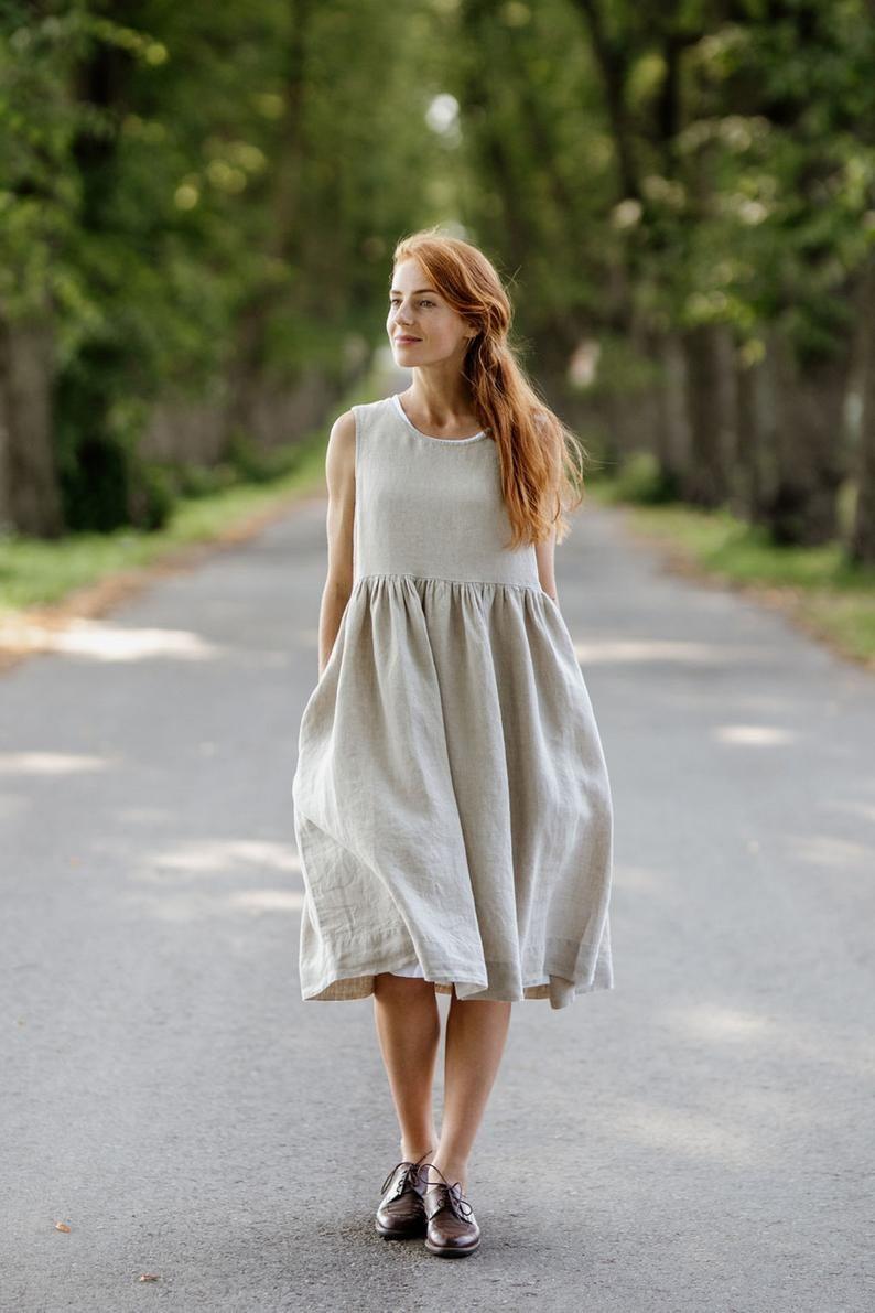 Linen Summer Dress Black Dress Midi Linen Dress Beach Etsy Smock Dress Natural Linen Dress Summer Linen Dresses [ 1191 x 794 Pixel ]