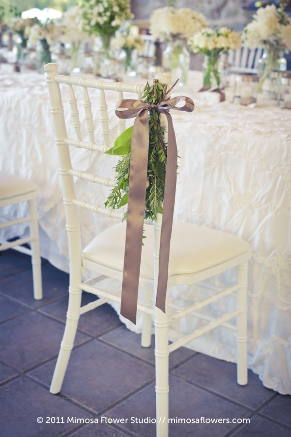 Pretty Chair Decor For Some Seats Maybe Wedding Party And Parents Immediate Family Wedding Chair Decorations Wedding Chairs Chair Decorations