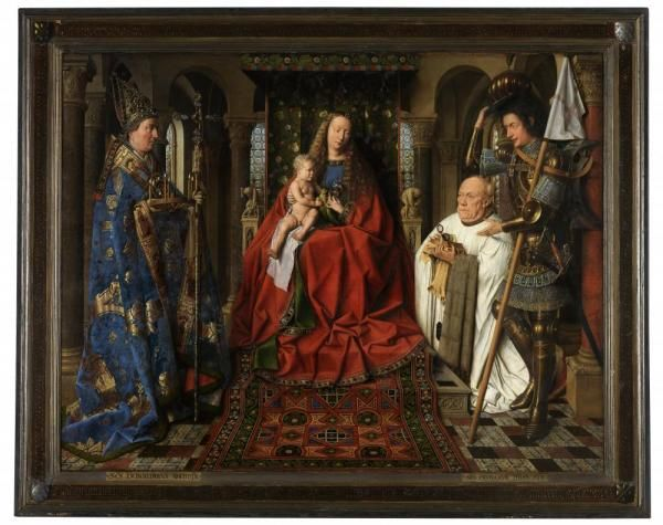Jan van Eyk (Maaseik 1380/ 1400 - Bruges 1441)  Groeningemuseum Brugge  Madonna with Canon Joris van der Paele (1436)