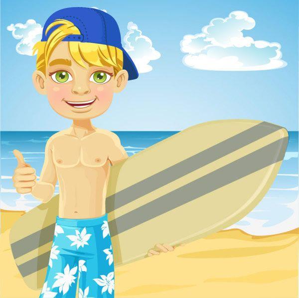 tavola da surf beach boys | Boy illustration, Vector free ...