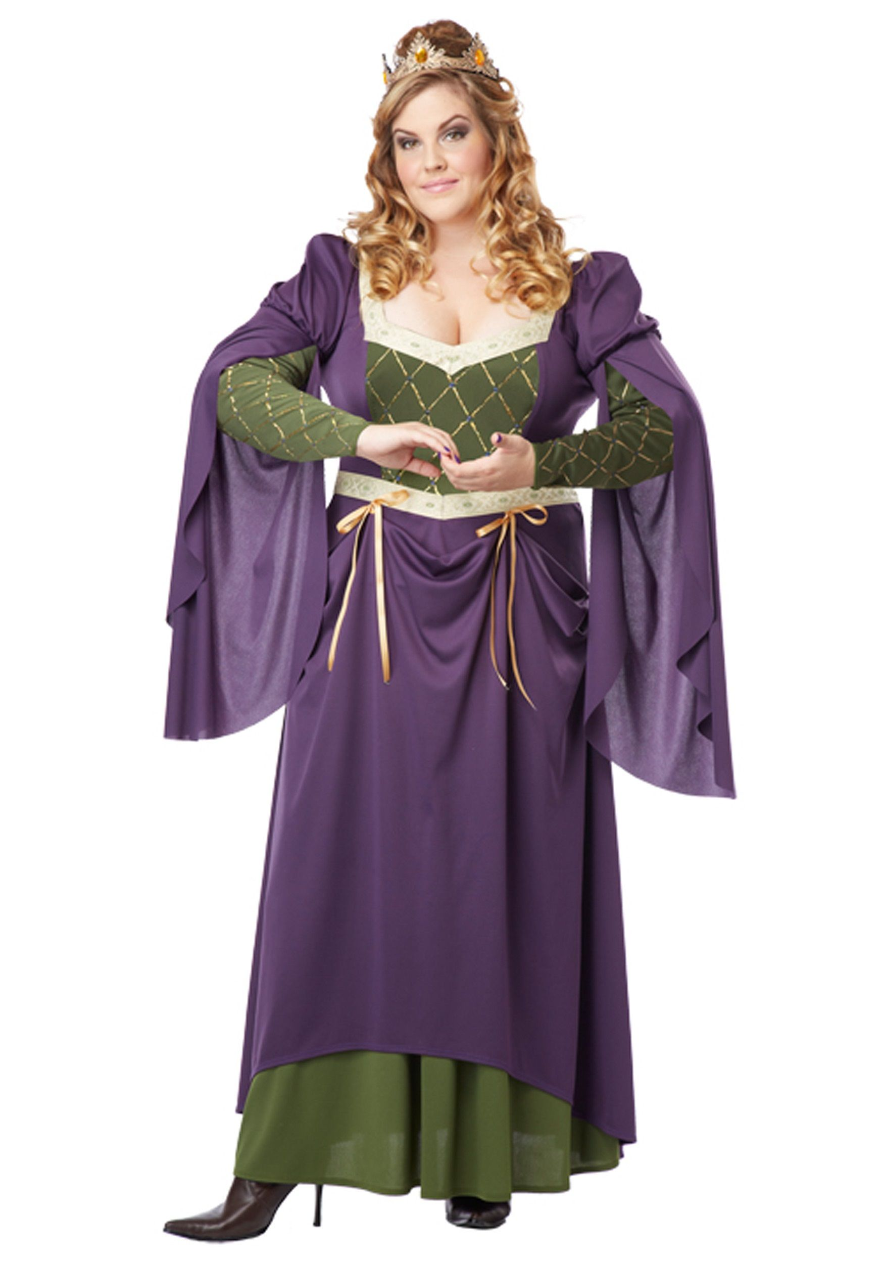 Plus Size Lady In Waiting Costume In Purple And Green Purple