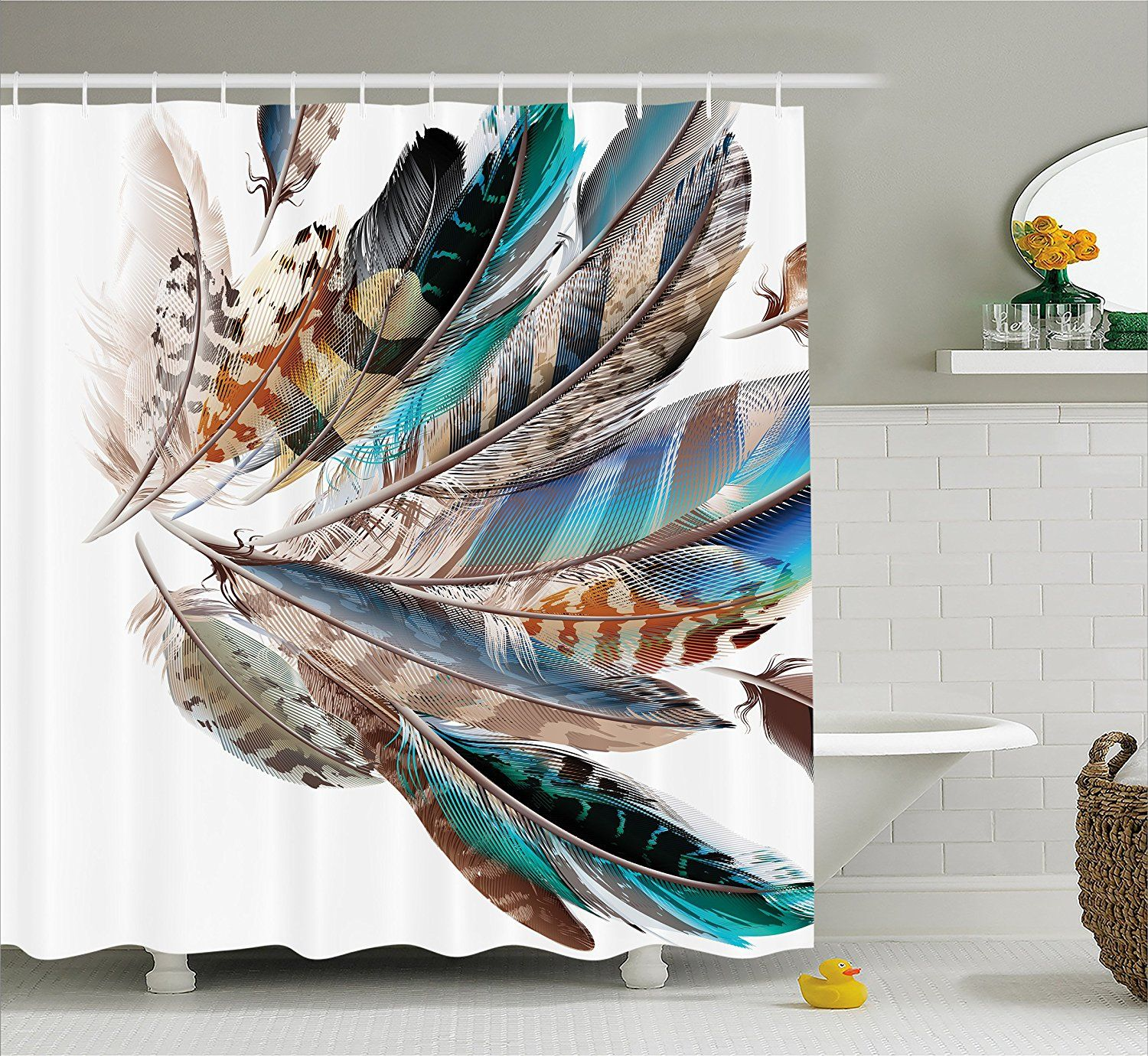 Amazon Com Feather House Decor Shower Curtain By Ambesonne Vaned