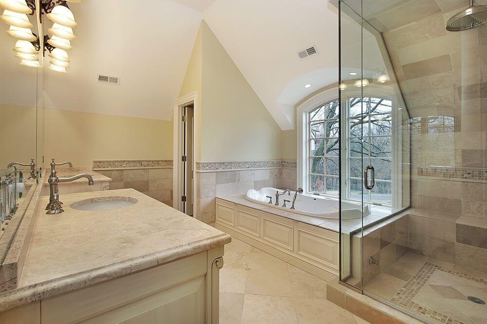 Bathroom Lighting Vaulted Ceiling 45 modern bathroom interior design ideas | beige tile bathroom