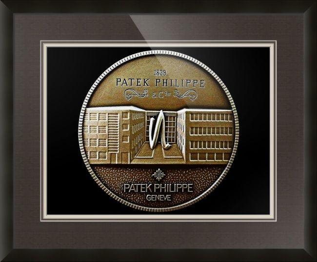 "Patek Philippe Geneve Commemorative Medal Coin (Front) // Paper: enhanced matte; Glazing: acrylic; Moulding: black, ecocare 2-inch black; Top Mat: black/gray, prato grotto; Middle Mat: brown, chestnut brown; Bottom Mat: tan, seaside // Price starts at $147 (Petite: 21"" x 23""). // Customize at http://www.imagekind.com/Patek-Philippe-Geneve-PPG_art?IMID=5cad76ca-2632-4430-9e1b-71f73e27c714"