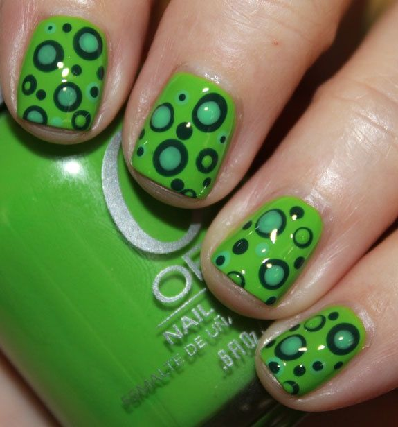 Green Mod Dots with Orly Fresh as the base and some dots, Wandering ...