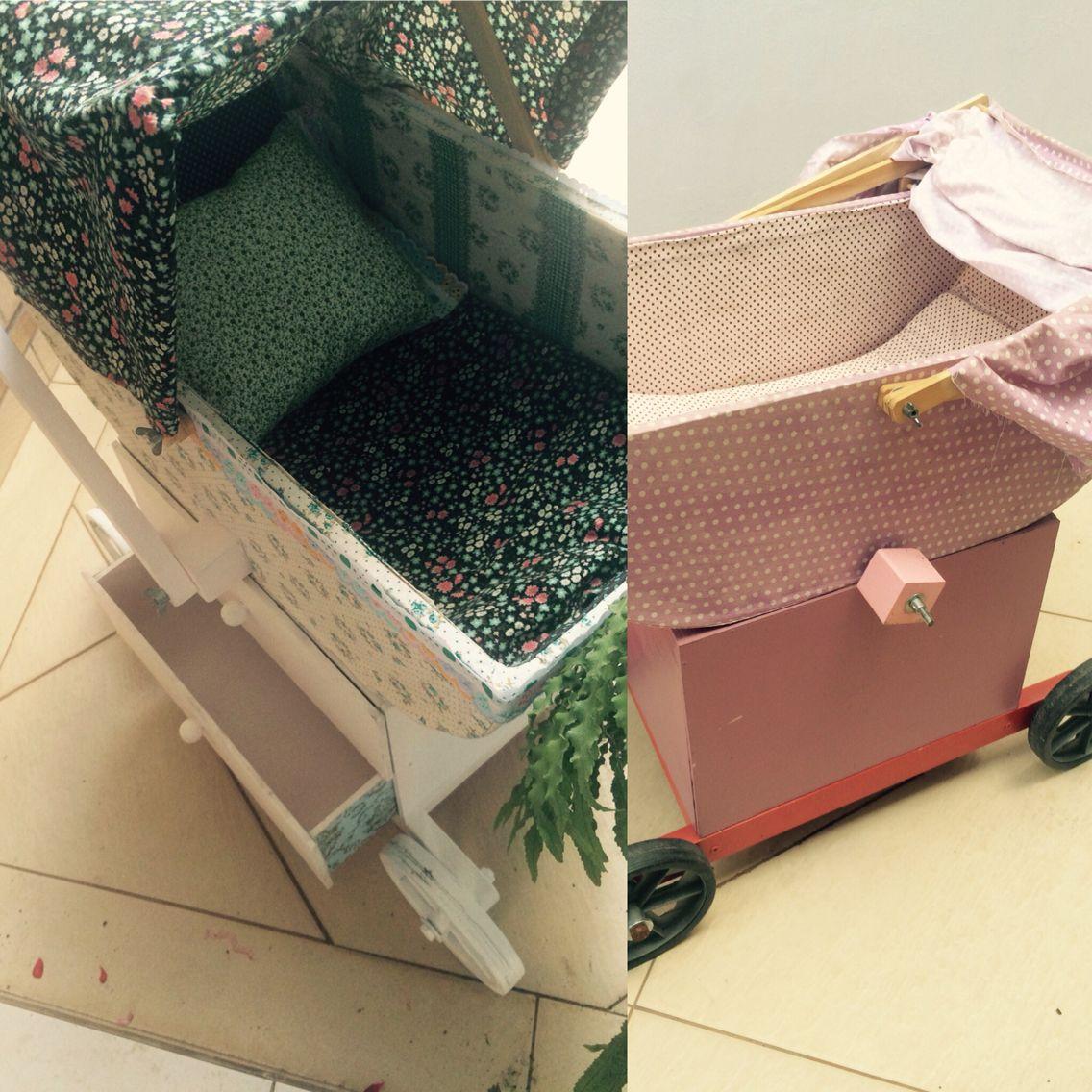 Reforma carrinho de boneca: cola, tecido, tinta e muita paciência