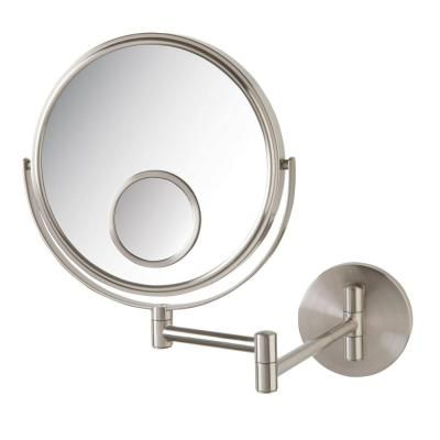 Jerdon 11 In X 12 In Wall Makeup Mirror In Nickel Jp7510n The Home Depot Wall Mounted Makeup Mirror Makeup Mirror Wall Mounted Mirror