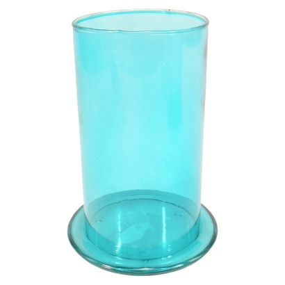 RE Colored Glass Candleholder w/Base Plate Medium - Blue