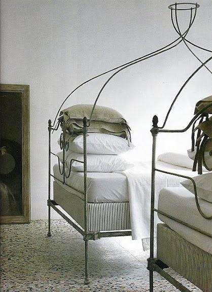 THESE BEDS LOOK COMFORTABLE BUT WHY THEY HAVE A CANOPY AND ARE SEPARATED I DON'T KNOW. PROBABLY SISTERS.