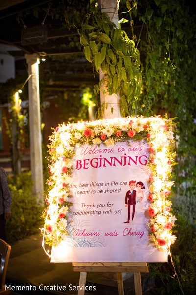 Indian Wedding Reception Welcome Sign Wedding Floral Decor In