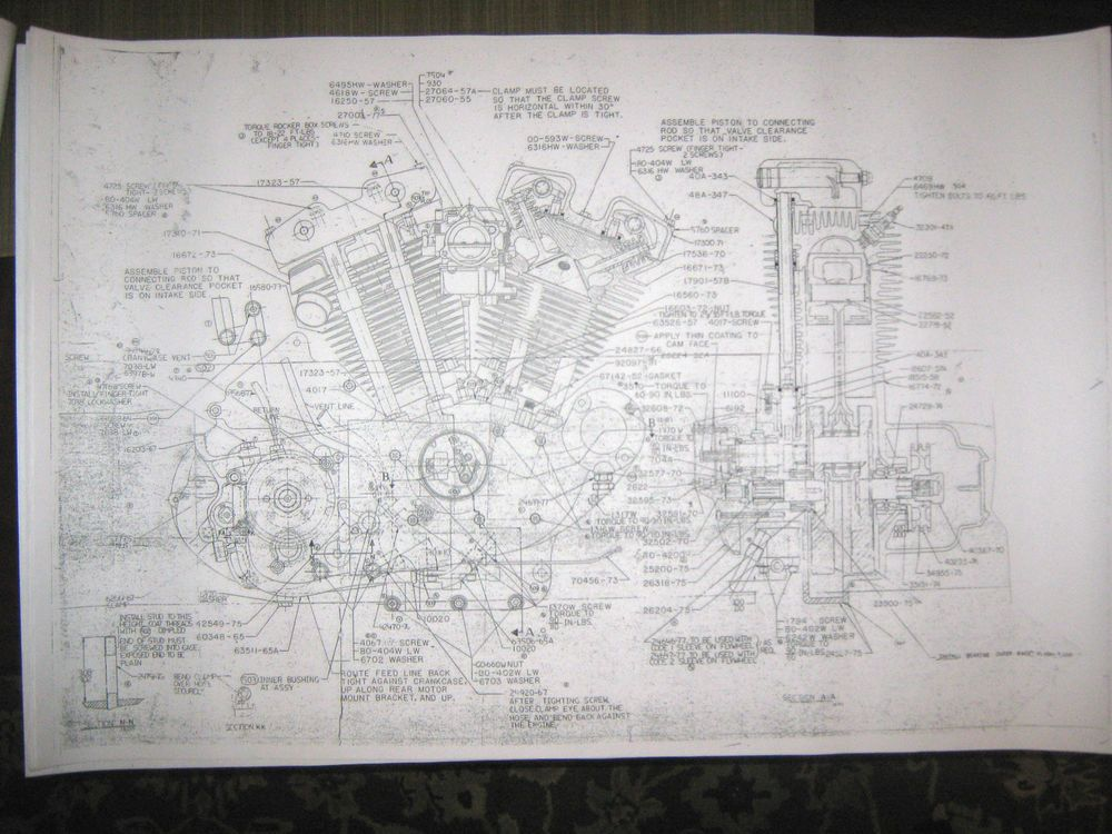 Harley davidson xl sportster engine transmission combo blueprints harley davidson xl sportster engine transmission combo blueprints poster print malvernweather