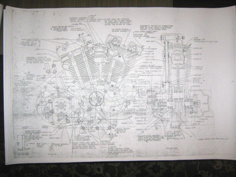 Harley davidson xl sportster engine transmission combo harley davidson xl sportster engine transmission combo blueprints poster print malvernweather Gallery