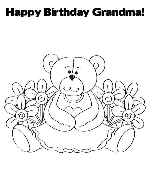 Happy Birthday Grandma Coloring Pages