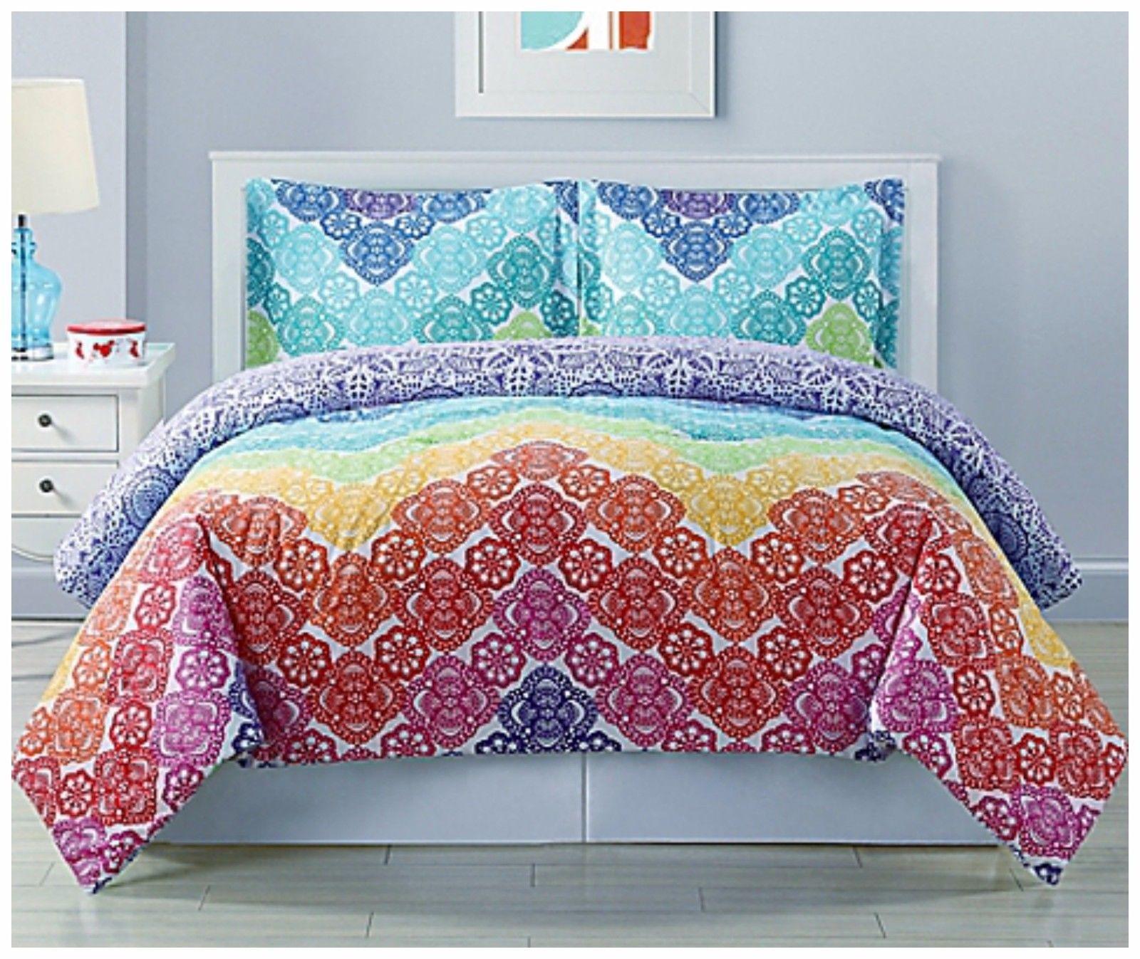 Twin Size forter Set Rainbow Lace Bedding Girls Teen Bedroom